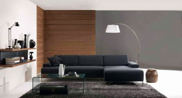 minimalist modern furniture in dark blue for living room