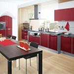 minimalist modern red lacquer kitchen cabinet