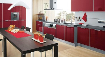 minimalist modern red lacquer kitchen cabinet
