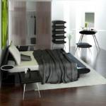 minimalist monochromatic bedroom with modern painted floors inspiration
