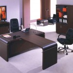 minimalist office furniture in dark wood