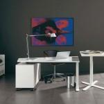 minimalist office furniture in industrial grey room