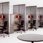 minimalist office furniture in multiple rooms