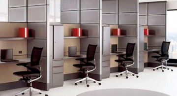 minimalist office furniture in multiple rooms