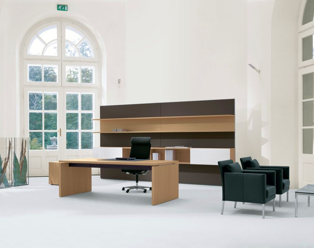 minimalist office furniture in wooden tones