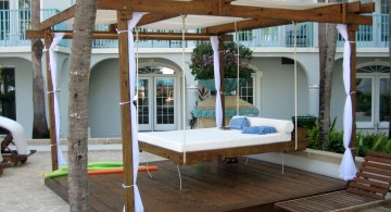 minimalist outdoor hanging swing bed