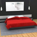 minimalist red black and white bedroom ideas with industrial grey rug