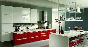 minimalist red lacquer kitchen cabinet