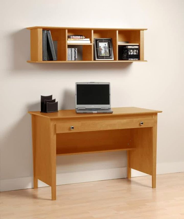 minimalist single sleek office desk with floating shelf