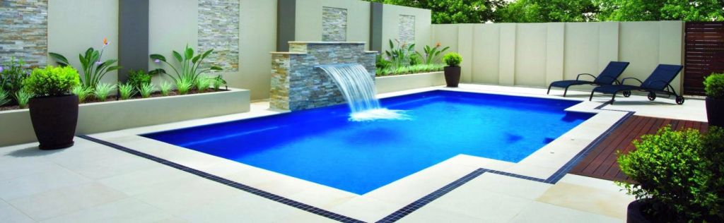 minimalist square pool shapes and designs with artifical waterfall