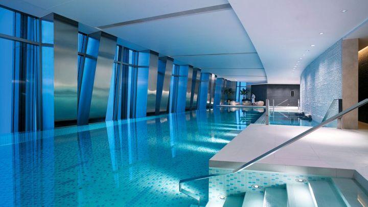 minimalist top floor indoor swimming pool