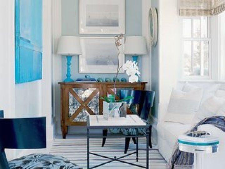 minimalist turquoise living room