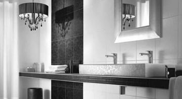 minimalistic black bathrooms ideas with vintage hanging lamp