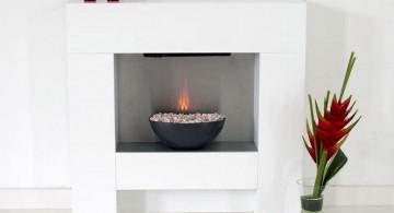 minimalistic modern white fireplace design