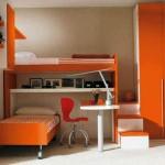 minimalistic orange funky bunk beds