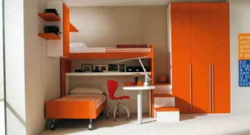 minimalistic orange funky bunk beds