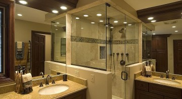 modern brown bathroom ideas with glass shower door