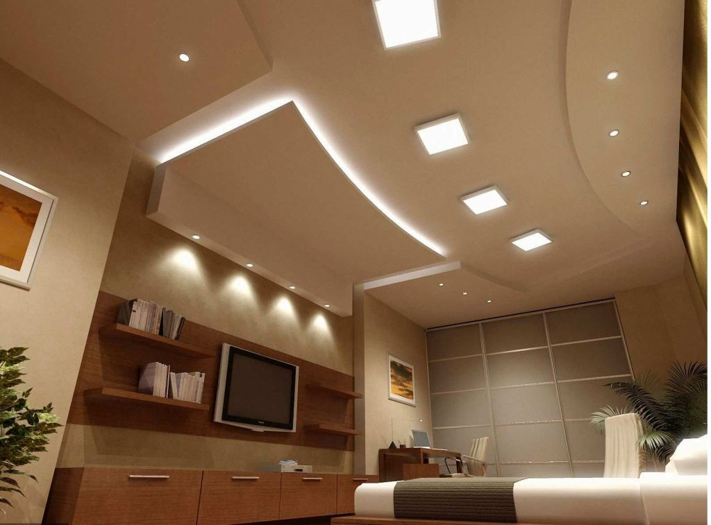 20 brilliant ceiling design ideas for living room for Modern living room ceiling lights