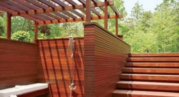 modern deck design for sidepool shower