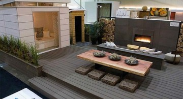 modern deck design with built in wall fireplace