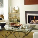 modern fireplace designs with glass and white and grey border