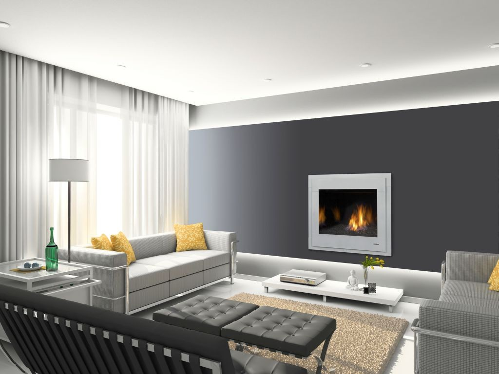 modern fireplace designs with glass built in white border