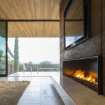 modern fireplace designs with glass outlooking the garden