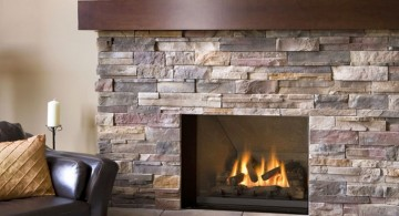 modern fireplace designs with glass still with rustic feeling