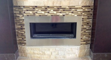 modern fireplace designs with glass with brick border