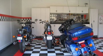 modern garage designs and inspiration with checkered tiles and three bikes