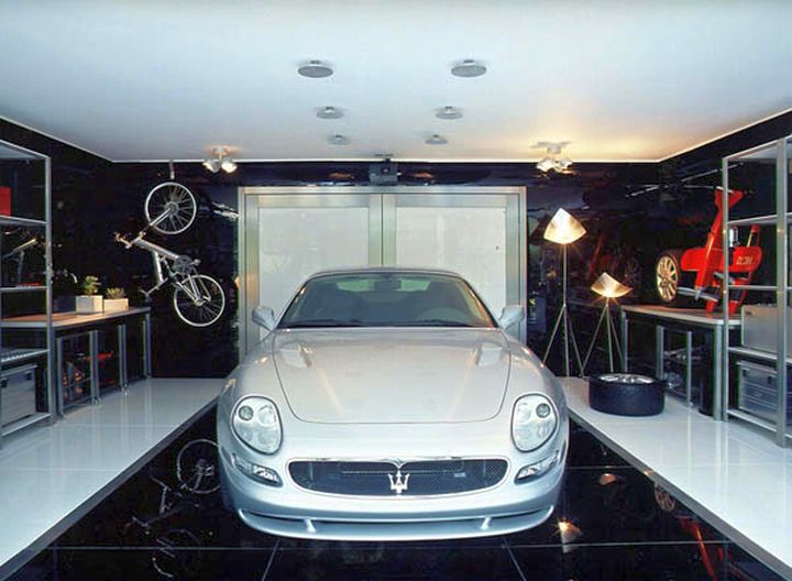 modern garage designs and inspiration with polished black tiles