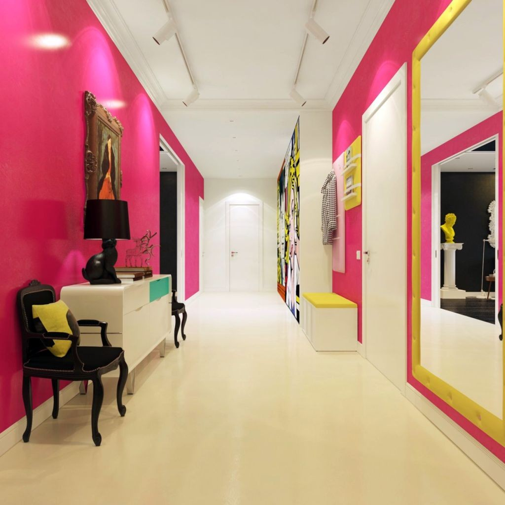 modern hallway decorating ideas in bright pink and white