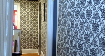 modern hallway decorating ideas with cool blue wallpaper