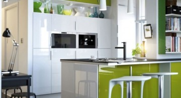 modern kitchen tables for small spaces in green and white kitchen