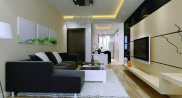 modern long living room ideas in monochrome