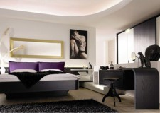 modern mens bedroom in monochrome