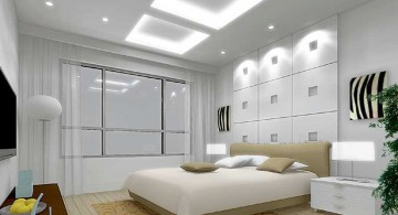 modern mens bedroom with faux skylight