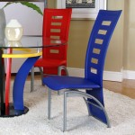 modern multi colored dining chairs with matching table