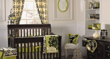modern nursery room design ideas in green with classic chandelier