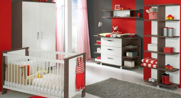 modern nursery room design ideas in red and grey