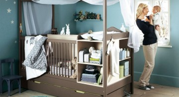 modern nursery room design ideas with baby cribs that also works as storage