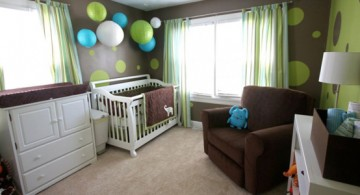 modern nursery room design ideas with cute wallpaper