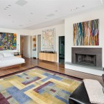 modern painted floors inspiration for small apartment with fireplace