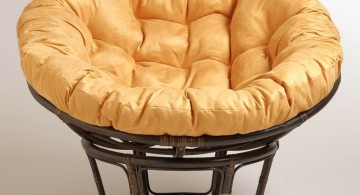 modern papasan chair with soft orange cushion