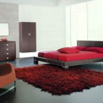 modern red black and white bedroom ideas with industrial bed