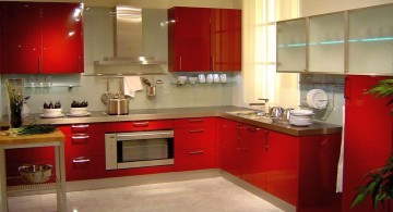 modern red lacquer kitchen cabinet for limited space