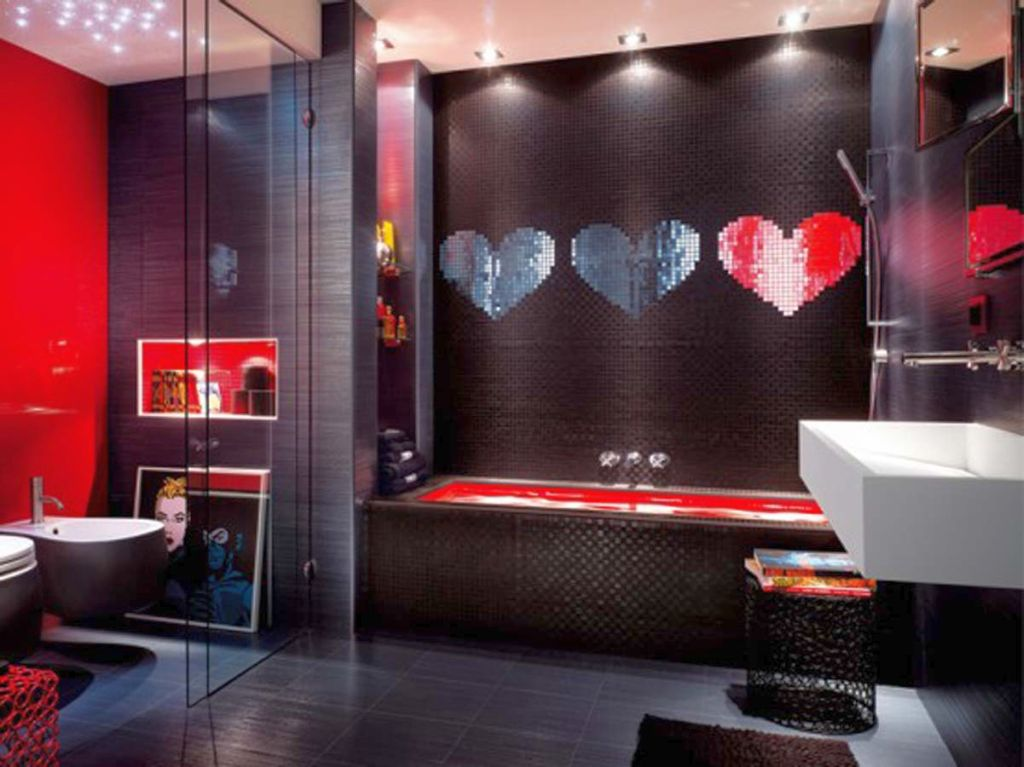 20 bewitching modern black bathrooms ideas for Red bathroom ideas photos