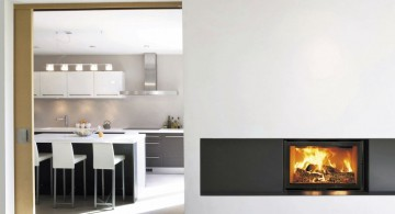 modern white fireplace design as wall divider
