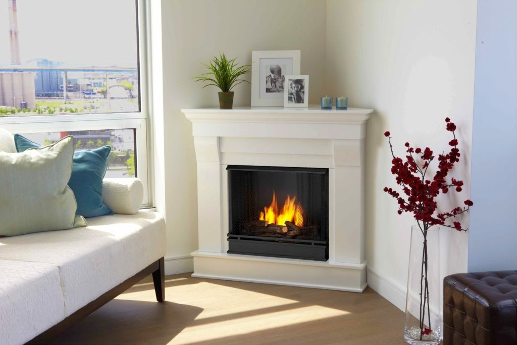 modern white fireplace design in the corner