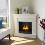modern white fireplace design in the corner
